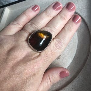 Vintage amber ring in silver